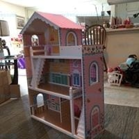 44in Height 3-Story Wooden Open Dollhouse Set w/ 5 Rooms, Accessories Model # SKY1797
