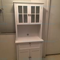White Buffet & Hutch With Framed Glass Doors & Drawers by OS Home & Office Furniture Model #25504