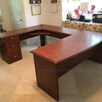 "Real space Broad street 65"" u shaped executive desk cherry Model # 475994"