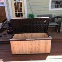 Suncast WRDB12000 120 Gallon Extra Large Hybrid Deck Box w/ Resin Floor and Lid Model # WRDB12000